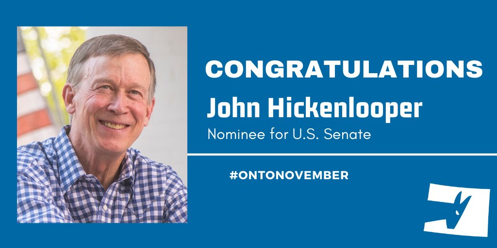 Congratulations John @Hickenlooper! We're ready to win with you!   @CoryGardner -- we hope you have your resume fired up, because you're going to be needing a new job come November 💪 #copolitics #cosen #ontoNovember