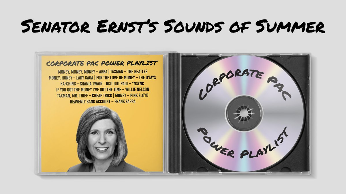 EXCLUSIVE: On top of $2 million in campaign cash, the IDP obtained a [No] Tax Day playlist gifted to Senator @JoniErnst by her corporate PAC donors as a 'thank you' for billions in tax giveaways.  Let's elect a senator who puts working families – not corporations – first. #IASen