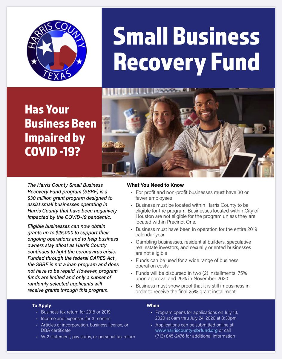 Here are the details for the Harris County Small Business Recovery Fund. Open today. Click  for more info. #txlege #HarrisCounty