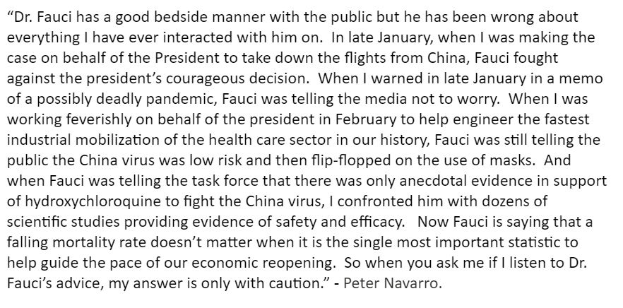 """Yesterday, WH trade advisor Peter Navarro sent a laundry list of complaints about Dr. Fauci to @PaulaReidCBS. Senior officials--including some on the task force--told @CBSNews that Dr. Fauci has become a """"source of controversy"""" at the WH, """"creating headlines that are not helpful"""""""