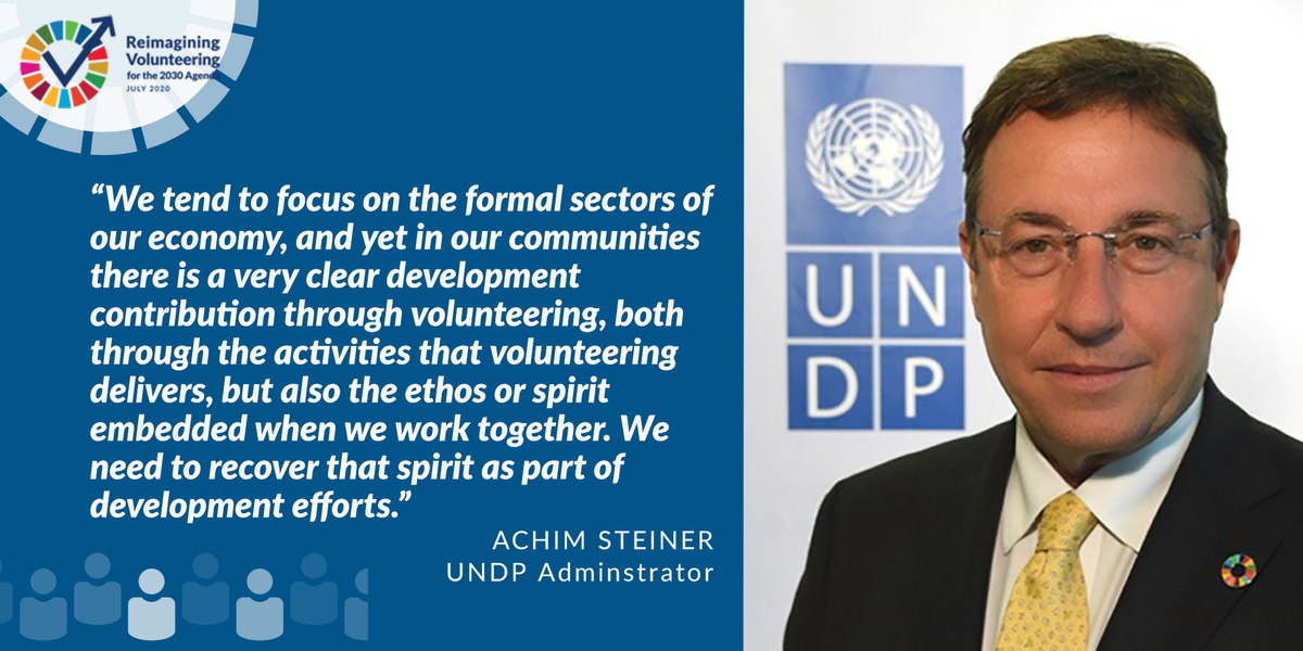 .@UNDP Administrator @AchimSteiner shares his thoughts on the need to rediscover the spirit of volunteering for development #GTM2020 #HLPF2020 #volunteersdgs