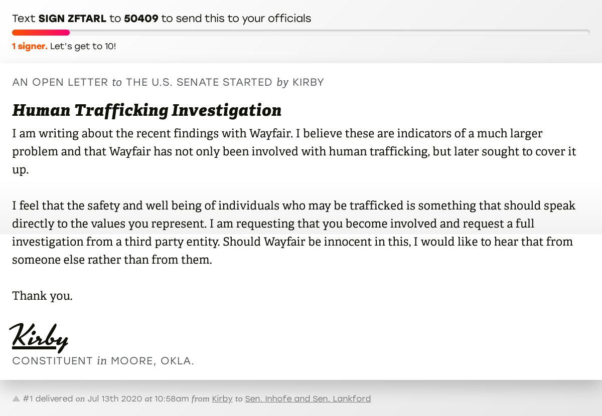 """🖋 Sign """"Human Trafficking Investigation"""" and I'll deliver a copy to your officials:   📨 No. 1 is from Kirby to @JimInhofe and @SenatorLankford #OK04 #OKpolitics #OKpol"""