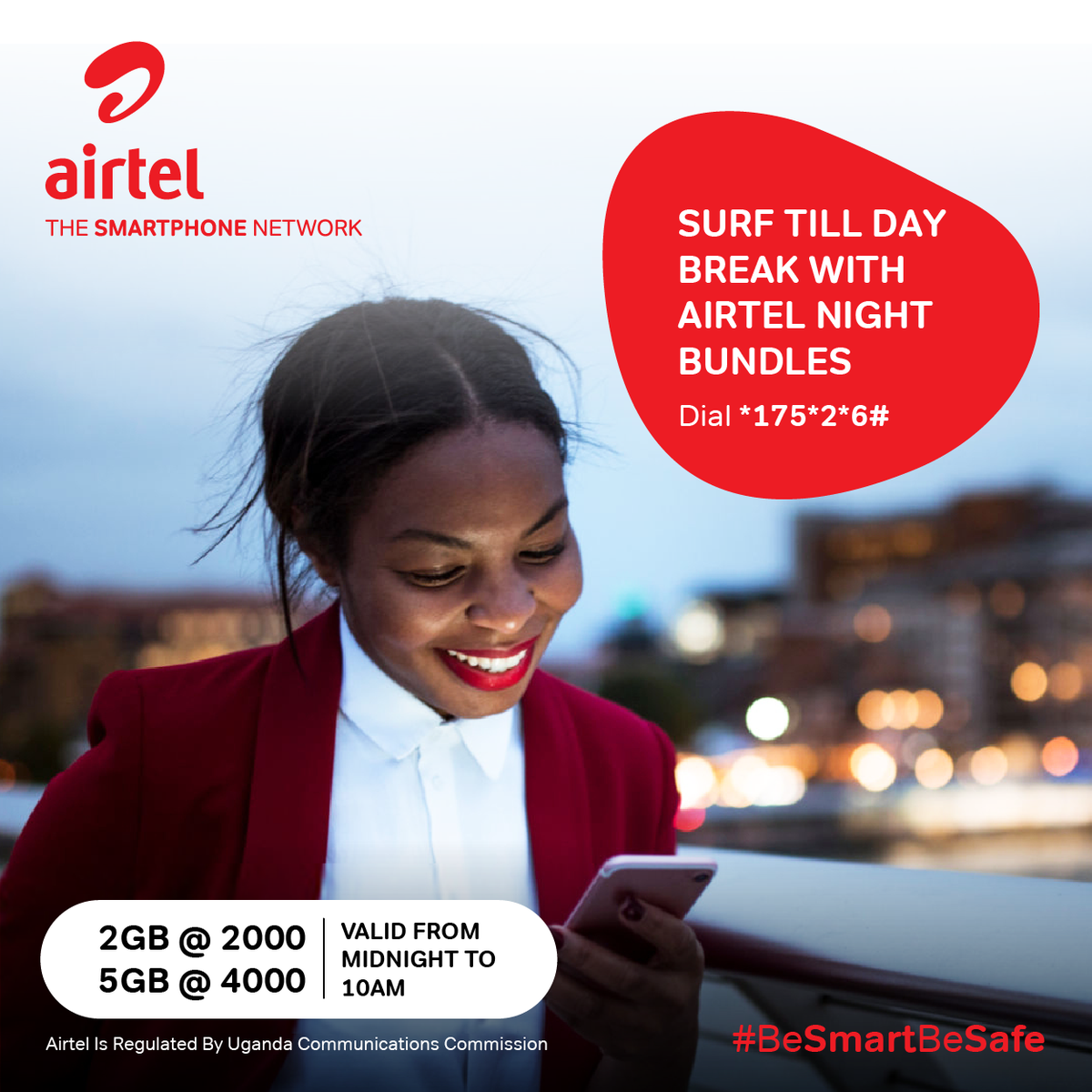 Keep the fun times all night till day break with the reloaded Airtel Simply dial *175*2*6# to get 2GB at UGX 2,000 or 5GB at UGX 4,000 valid from midnight to 10am the next day. #BeSmartBeSafe