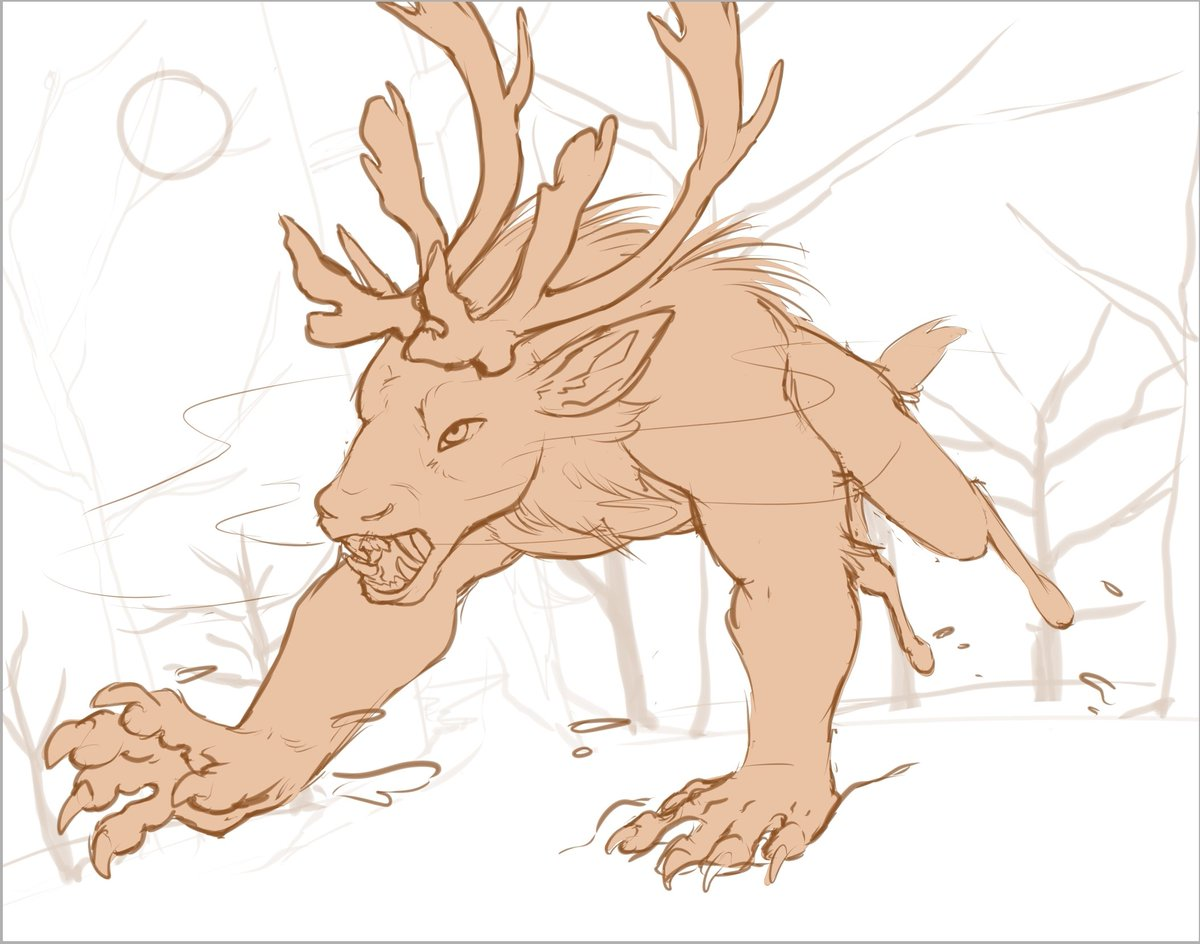 WIP of one snarly were-caribou for @night_bou. I'm really excited to start rendering this x3 #sketch #furry #furryart