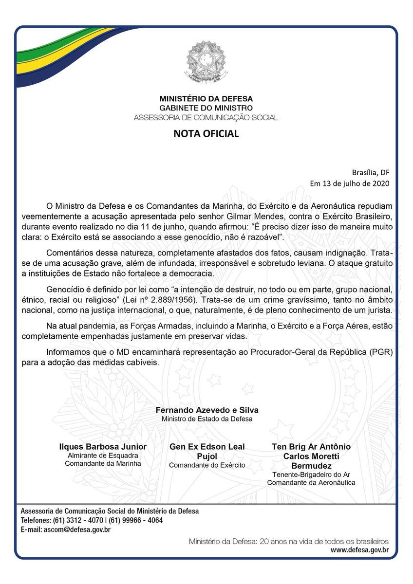 O @DefesaGovBr acaba de divulgar uma nota sobre a declaração de Gilmar Mendes contra o @exercitooficial  O texto, assinado pelo ministro Fernando Azevedo e Silva e pelos comandantes das Forças Armadas, repudia veementemente a acusação feita pelo Ministro do STF!