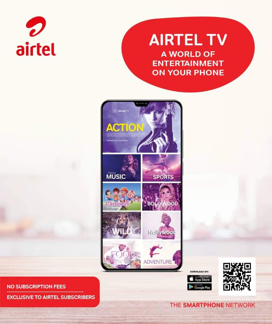 With the Airtel Tv app, you'll never get bored. Download it from the Google play store or apple store. As simple as 1, 2, 3 #airtelthesmartphonenetwork #besmartbesafe  #KopalasMostLoved