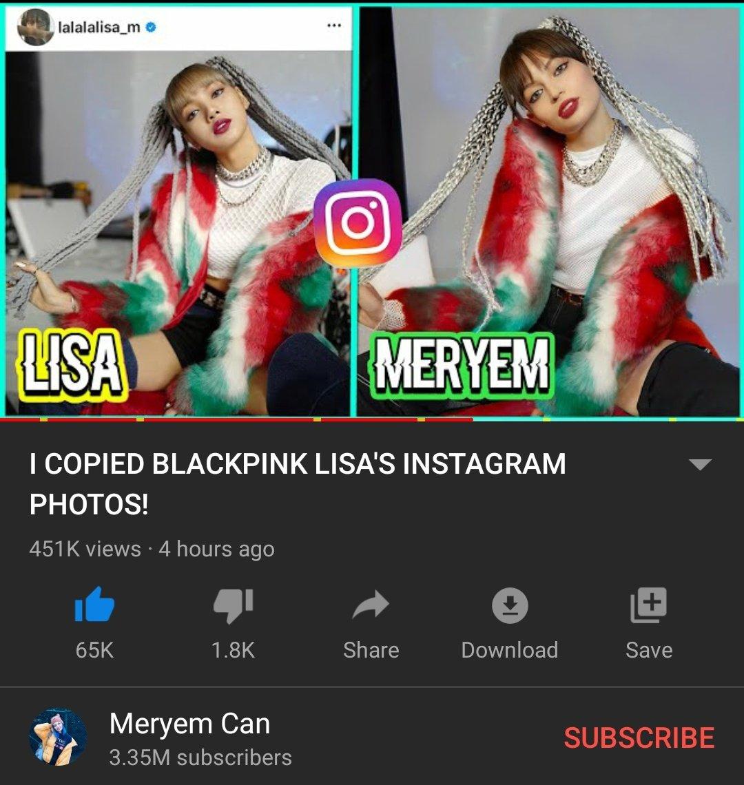 Meryem Can ( A famous Turkish YouTuber with 3.35M ) has posted a video where she copied Lisa's Instagram photo styles ❤  🔗   قامت اليوتيوبر التركية الشهيرة مريم كان بنشر فيديو لها وهي تقوم بتقليد أزياء صور ليسا من الإنستقرام ❤  #LISA #LALISA #BLACKPINK