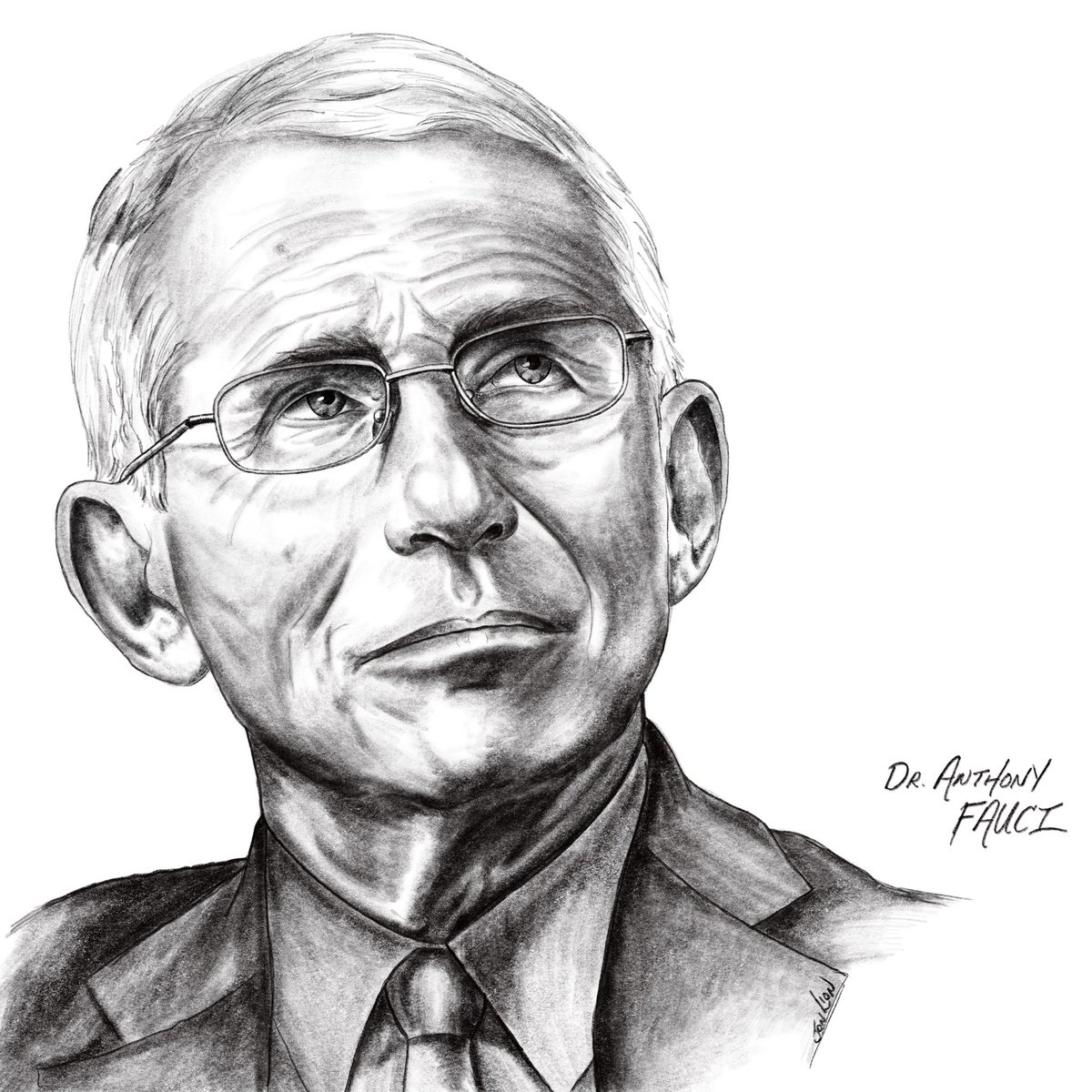I trust science  Not racist, narcissistic impeached *presidents like #CoronaDon   Proud to say #IStandWithFauci   My #DrFauci Charcoal/pencil drawing: