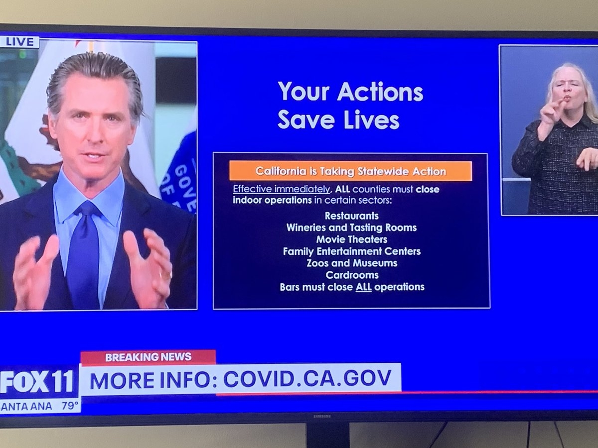 BREAKING: Governor Newsom requiring all counties in the state to close all indoor operations. In LA , Orange, Ventura, San Bernardino Cpunties, Gyms, fitness centers, hair salons etc will now have to close. @FOXLA