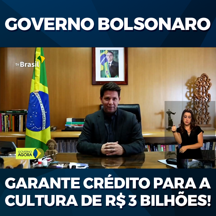 O Secretário de Cultura @mfriasoficial anuncia que o Governo @jairbolsonaro liberou crédito de R$ 3 bilhões para auxílio emergencial a artistas que dependem de espetáculos, inexistentes durante a pandemia, para garantir sua subsistência.  Ninguém ficará para trás! 💪🇧🇷