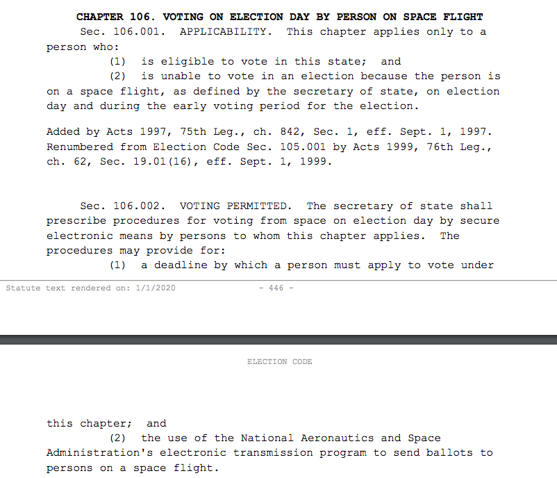 Every once in a while I remember this is written into the Texas election code 👩🚀 🚀 #txlege