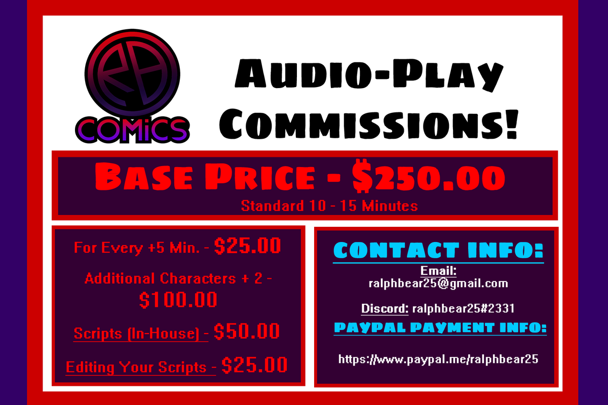 RBComics-AfterDark #NSFW Audio-Play #Commissions are OPEN!   Commission Details within this Doc: