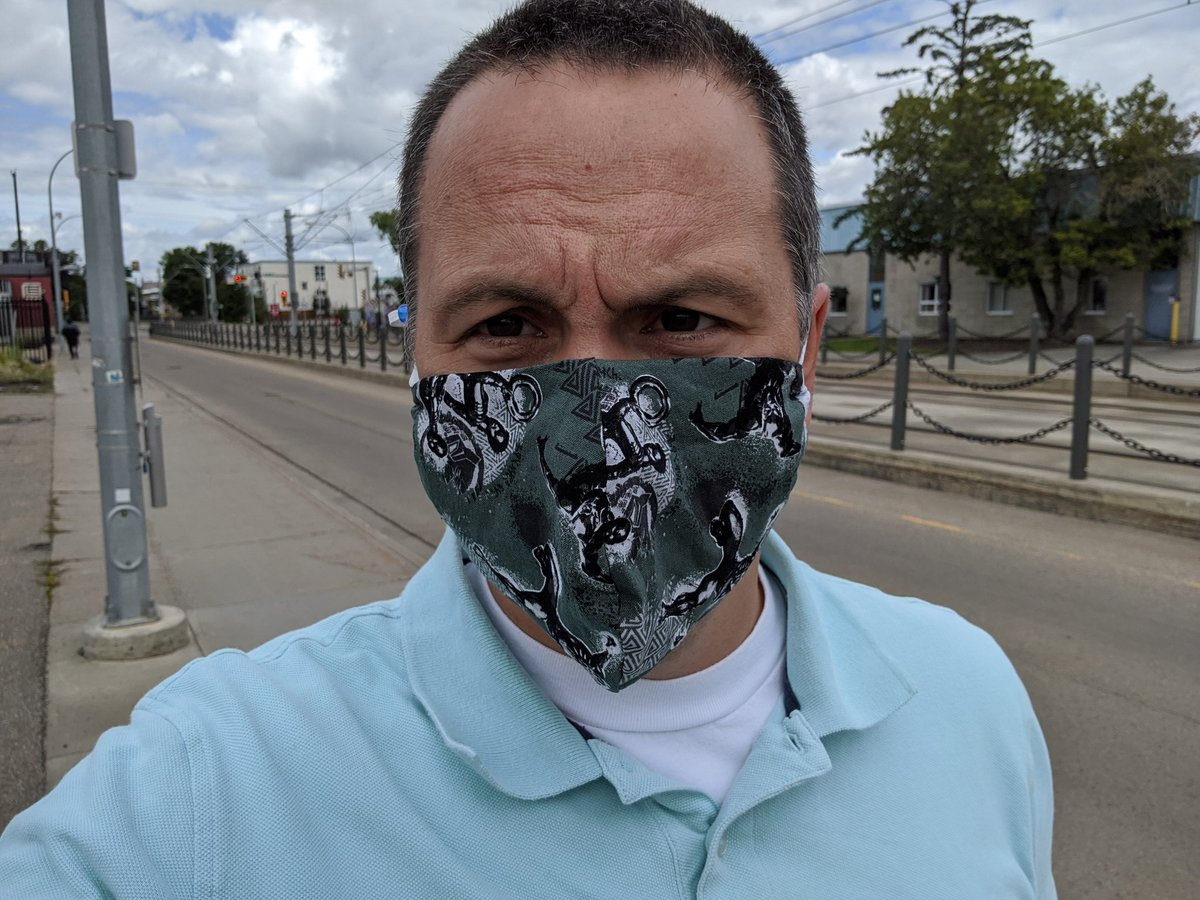 Covid numbers are up in Edmonton and it is probably more unsafe now than at any other time. Wear a mask to keep yourself and others safe.   Also, today it nicely covered up a new zit. Yeah masks! #WearAMaskYeg
