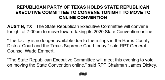 New: @TexasGOP will hold an SREC meeting tonight to act on moving the convention online. #txlege