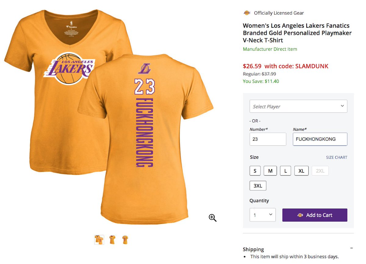 Not allowed: Free Hong Kong Allowed: Fuck Hong Kong  Here's what the NBA's custom store does, doesn't let you put on their shirts: