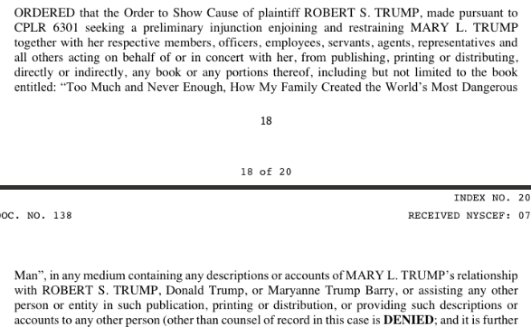 "BREAKING: Mary Trump and Simon & Schuster WIN the lawsuit seeking to block publication of ""Too Much and Never Enough: How My Family Created the World's Most Dangerous Man,"" which hits bookshelves tomorrow.    ICYMI: My early write-up, @CourthouseNews"