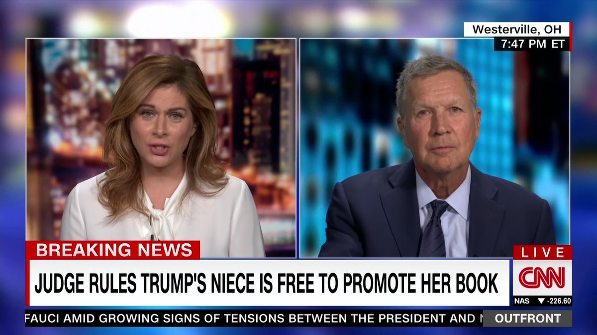"""Former Republican Ohio Gov. John Kasich: President Trump """"has bungled the coronavirus. He continues to even do that today."""""""