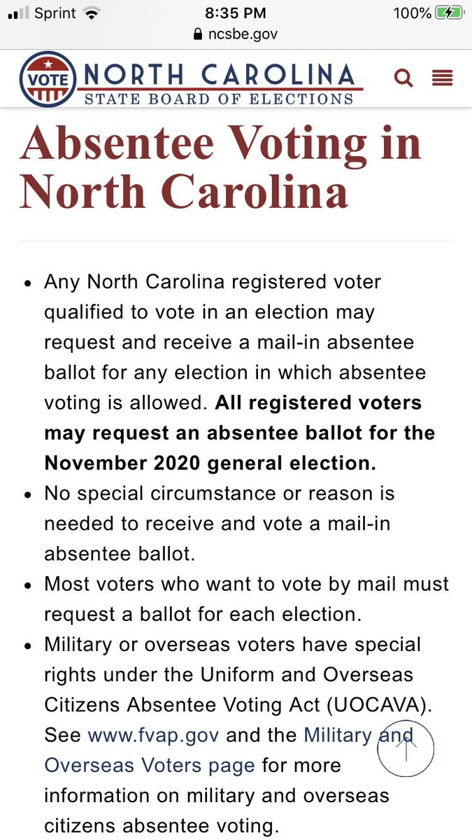 My hubs is installing a new printer cartridge so I can FINALLY print out an application for an absentee ballot for the Nov. 3 general election! Visit    #ncpol #beavoter #vote #voteblue #KHiveForBiden #Joementum #RidinWithBiden #VoteByMail #COVID19 1/2