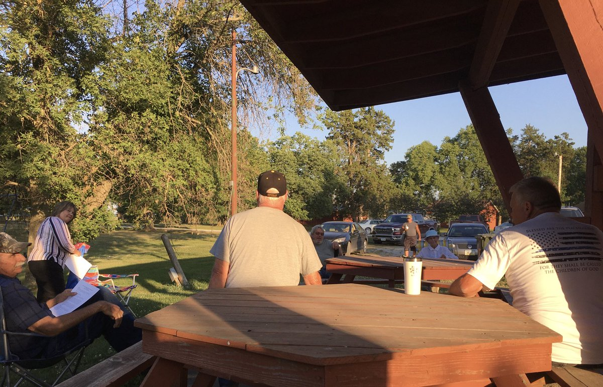 """Wayne County GOP had their 1st monthly meeting since the """"shut down"""" outdoors with proper social distancing. So nice to get together and energize these voters. #IA02"""