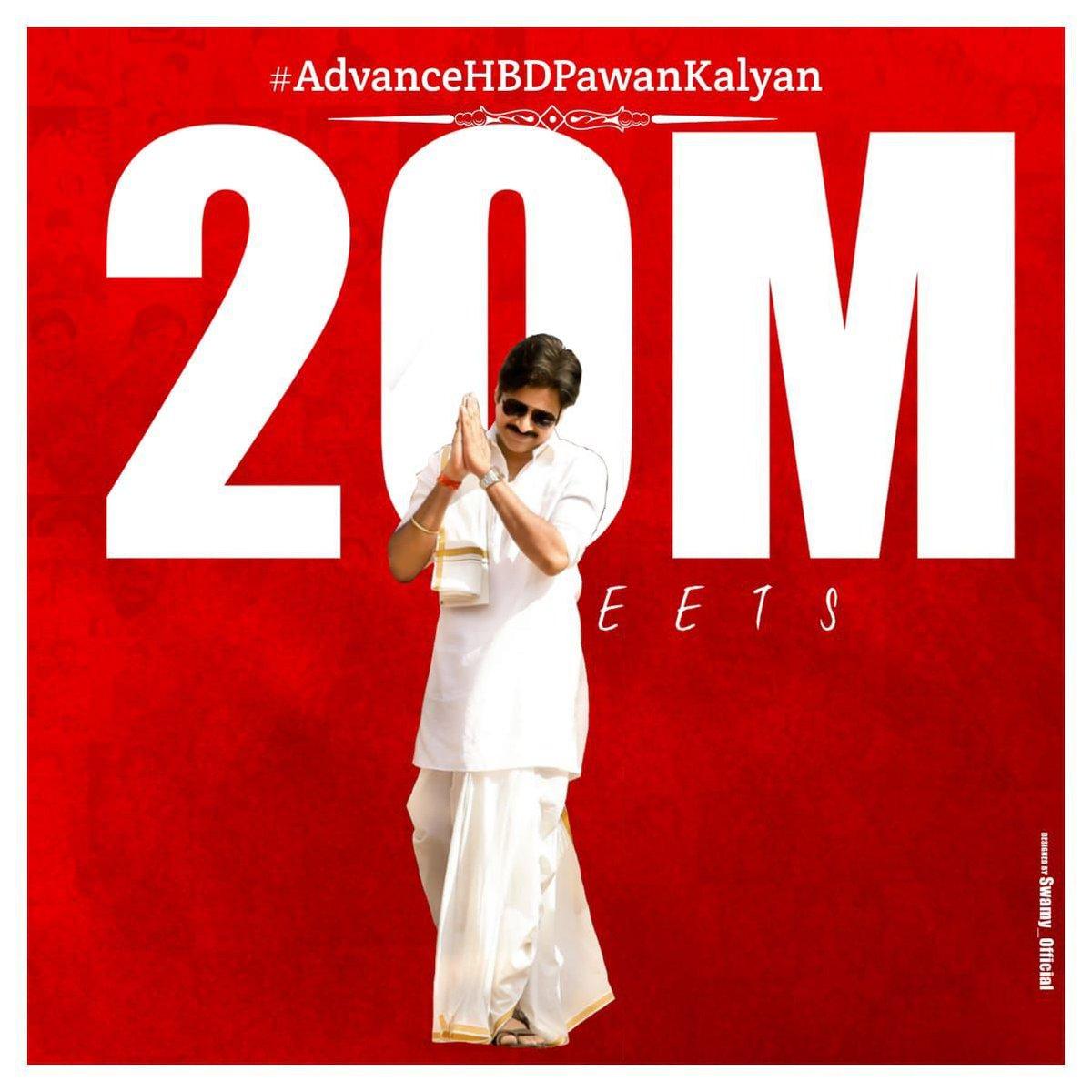 20M + tweets on #AdvanceHBDPawanKalyan 🔥  #PSPK fans show their unprecedented love for their star. Biggest trend ✌️ #Pawankalyan