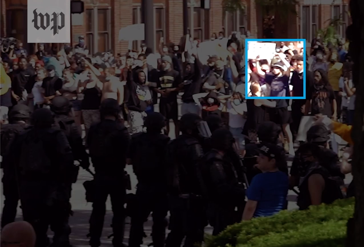 3/ But we found video showing what actually happened. Brake, who had been protesting peacefully with his hands up, turned and ran out of an intersection that police were trying to clear with gas.