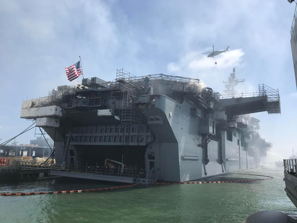 Fight on.  Sailors and civilian fire crews continue to combat a fire aboard #USSBonhommeRichard (LHD 6) at Naval Base San Diego.  Follow #USNavy & @SurfaceWarriors for updates. LATEST DETAILS ⬇️