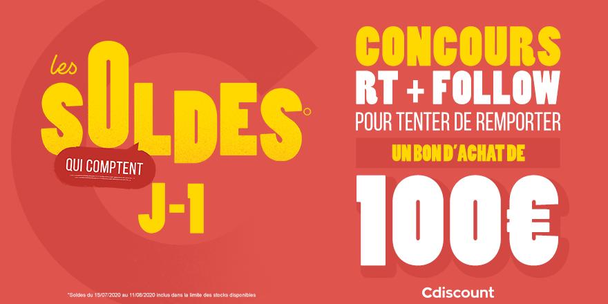 🎁 #Concours   🔥 Les soldes c'est demain à 08H sur Cdiscount ! On vous offre 3 bons d'achat de 100€ pour en profiter encore mieux  Pour tenter ta chance :  🔸 RT ce tweet 🔹 Follow @Cdiscount  ⏰ TAS 15/07