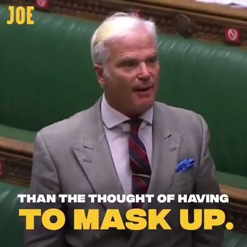 """Tory MP Desmond Swayne describes wearing face masks in England's shops as a """"monstrous imposition."""""""