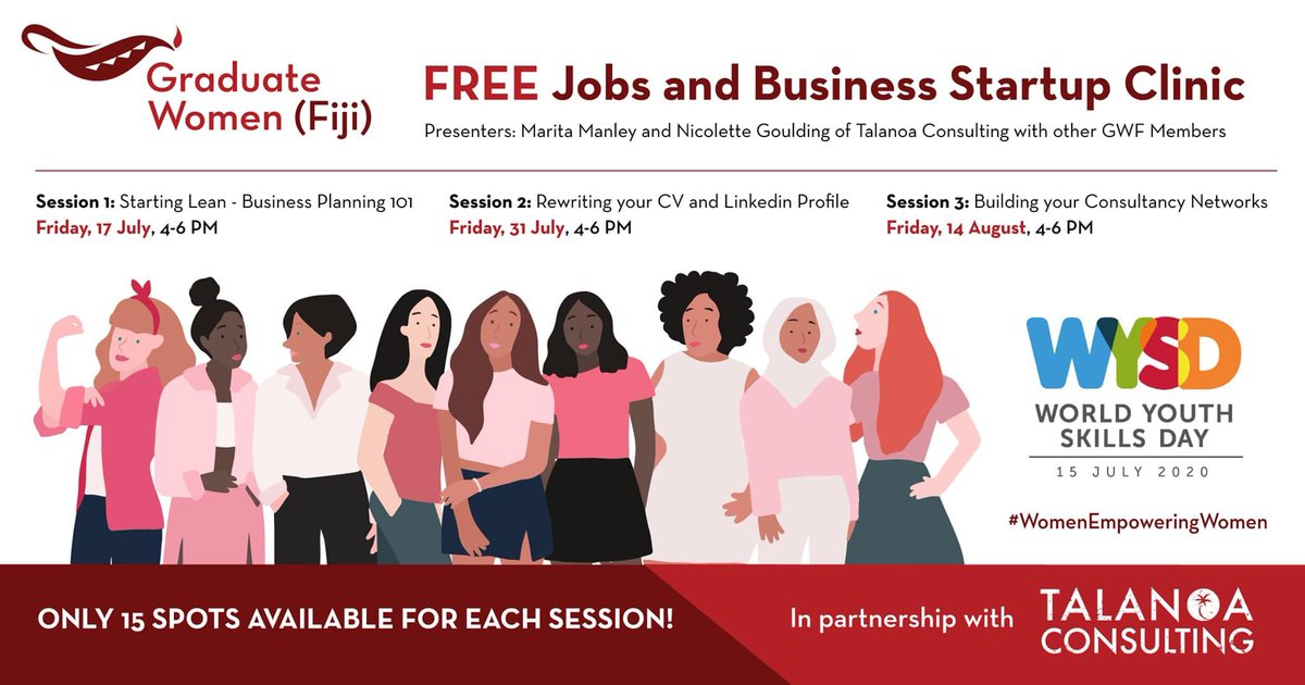 Great initiative by former grantee @gradwomenfiji who has teamed up with @TalanoaC to provide free #Business #Startup Clinics to help #women who would like to change their career or start a business because of #COVID19