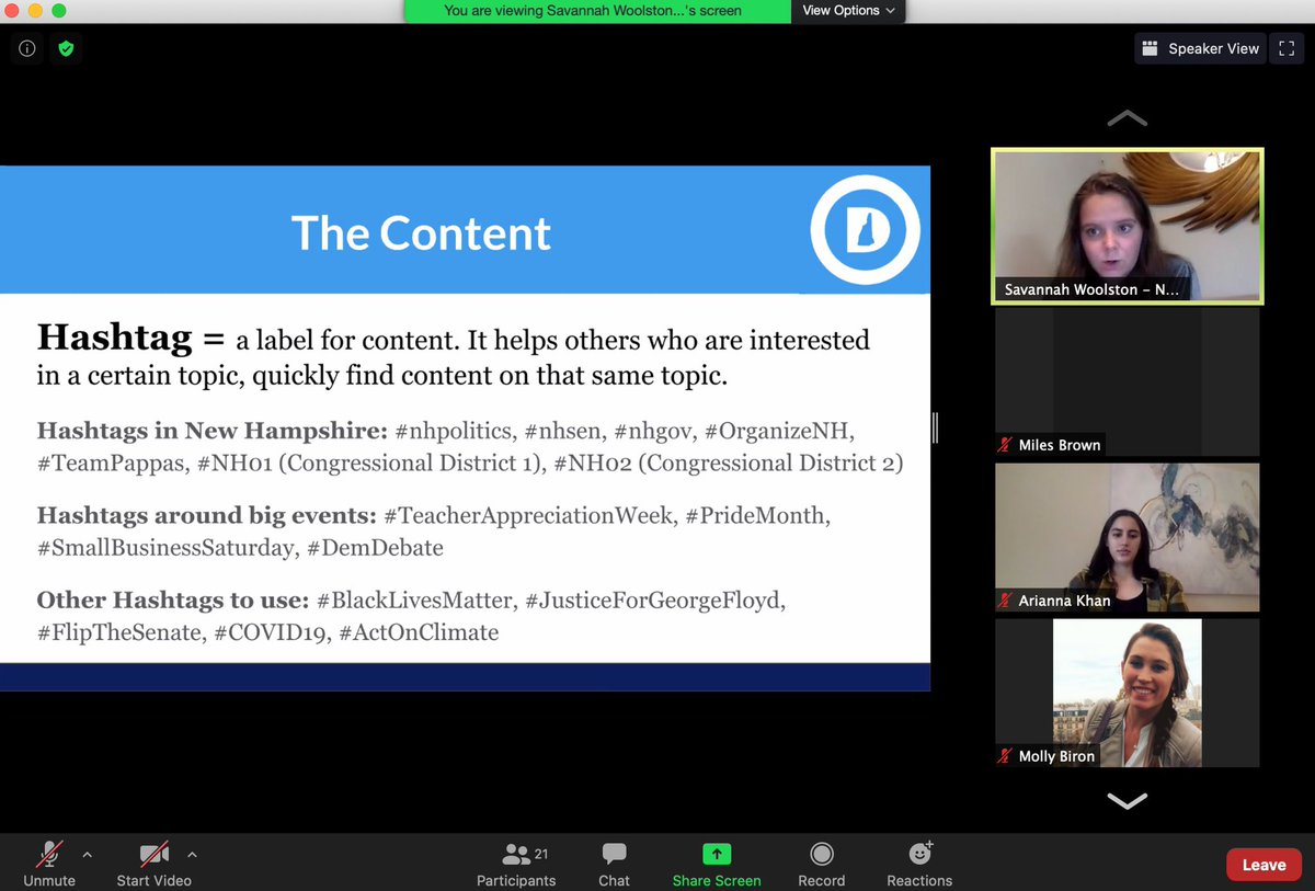 Thank you to @SavWoolston @NHDems and @NHCollegeDems for the #nhpolitics social media training today! As young dems in New Hampshire, it's crucial for us to stay active online to help re-elect progressive leaders like @SenatorShaheen @ChrisPappasNH and @RepAnnieKuster.