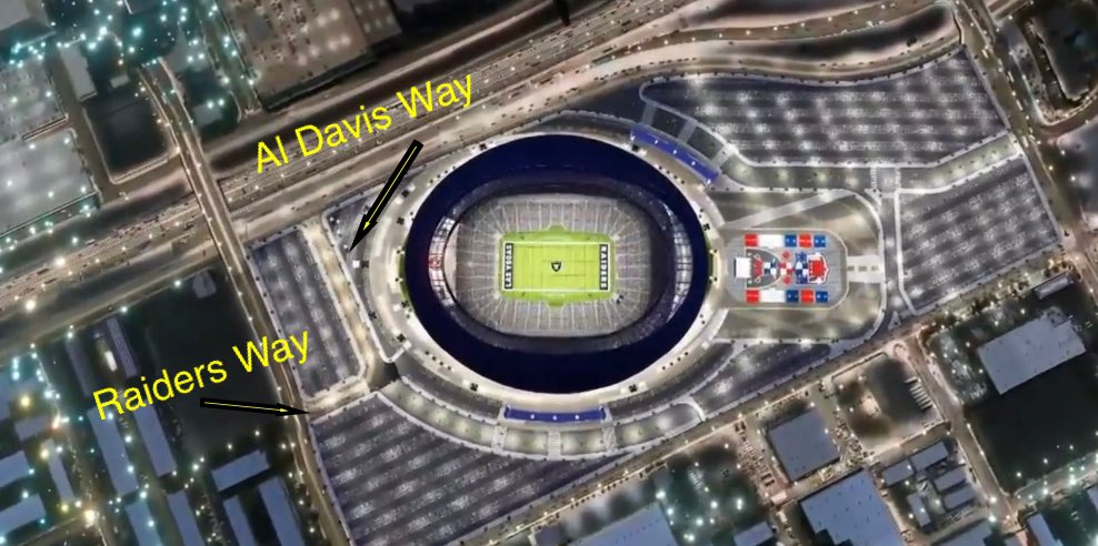 Aldebaran Avenue will be changed to Raiders Way on the north end of Allegiant Stadium. Will dead end into Al Davis Way. Street in Henderson where the team's HQ and practice facility is on is also named Raiders Way. #vegas #raiders #stadium
