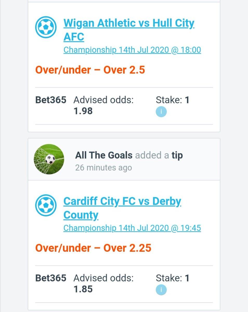 Wigan O2.5   1.98✅ Cardiff O2.25 1.85✅  +1.83 units