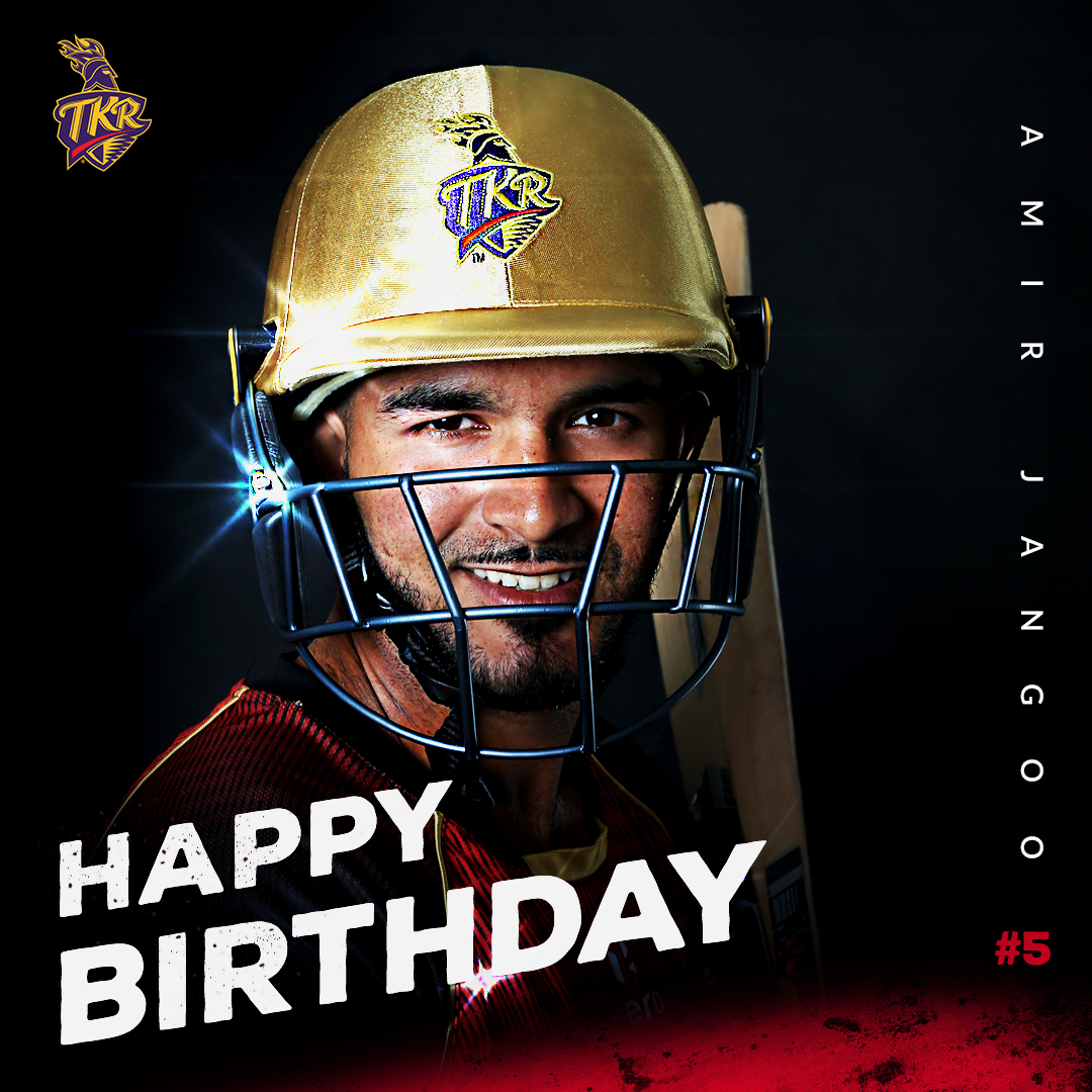 Happy Birthday to our #5 🥳  Many good wishes to the young 🇹🇹 lad from St. James, #TrinidadAndTobago - @AmirJangoo23  🔥  #HappyBirthday #AmirJangoo #TKR #TrinbagoKnightRiders #Cricket #CPL20