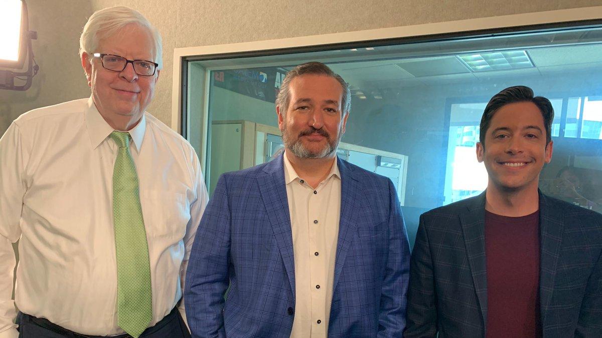 In the studio: Sen. @tedcruz and @michaeljknowles on the radio with @DennisPrager today!