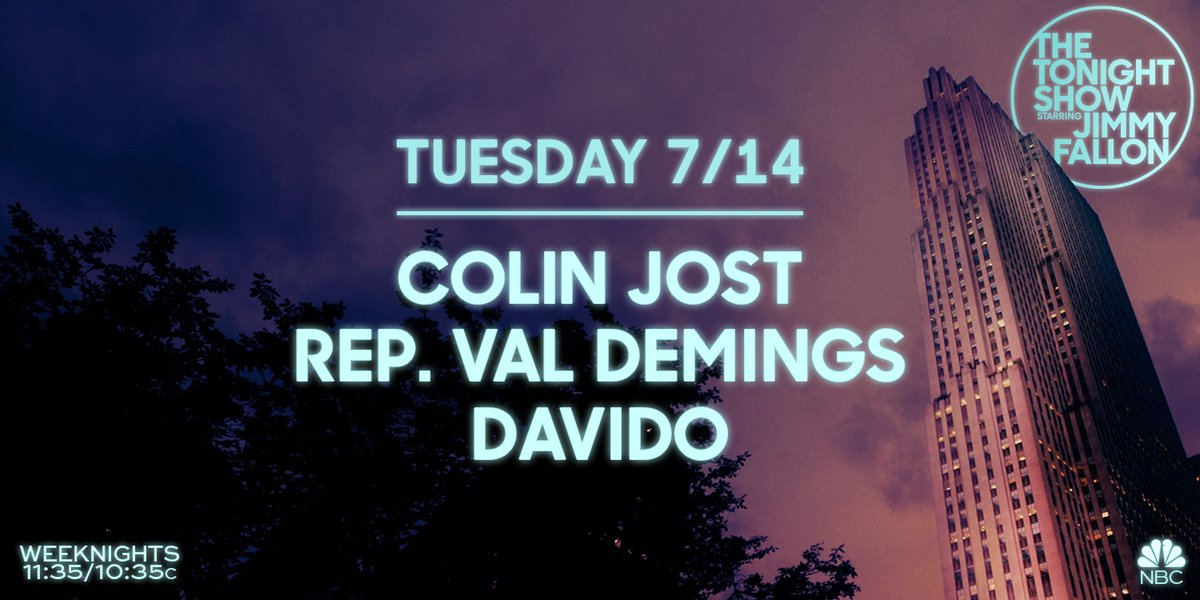 Tonight on #FallonTonight: @ColinJost, @RepValDemings, & music from @davido!