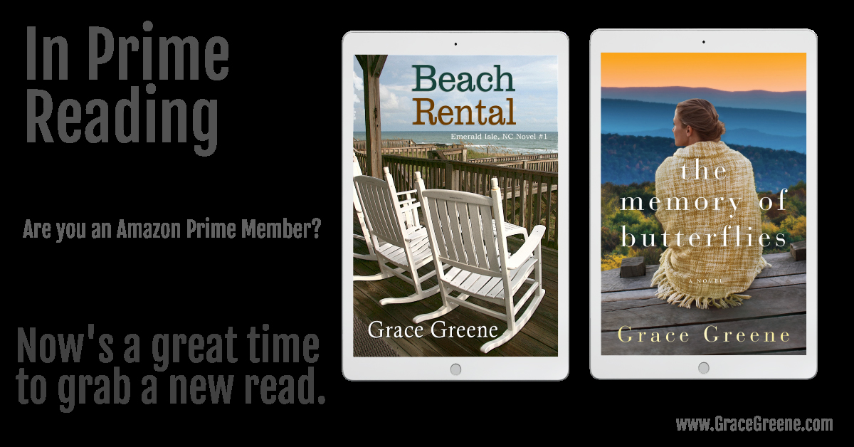 The Memory of Butterflies & Beach Rental in #PrimeReading.  Beach Rental ~ #WomensRomanticFiction & Inspiration ~ #1 in the Emerald Isle, NC series  #Amazon #Kindle US:  The Memory of Butterflies #WomensFiction US  @Grace_Greene