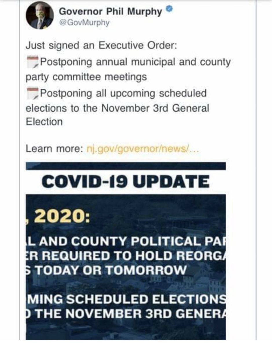 How does @GovMurphy get away with postponing Presidential elections?? Democrats trying to cheat their way in. People better stand up to this BS. If you can go shopping and to the beach you asshat you can go VOTE @realDonaldTrump @DonaldJTrumpJr @POTUS #VoterFraud