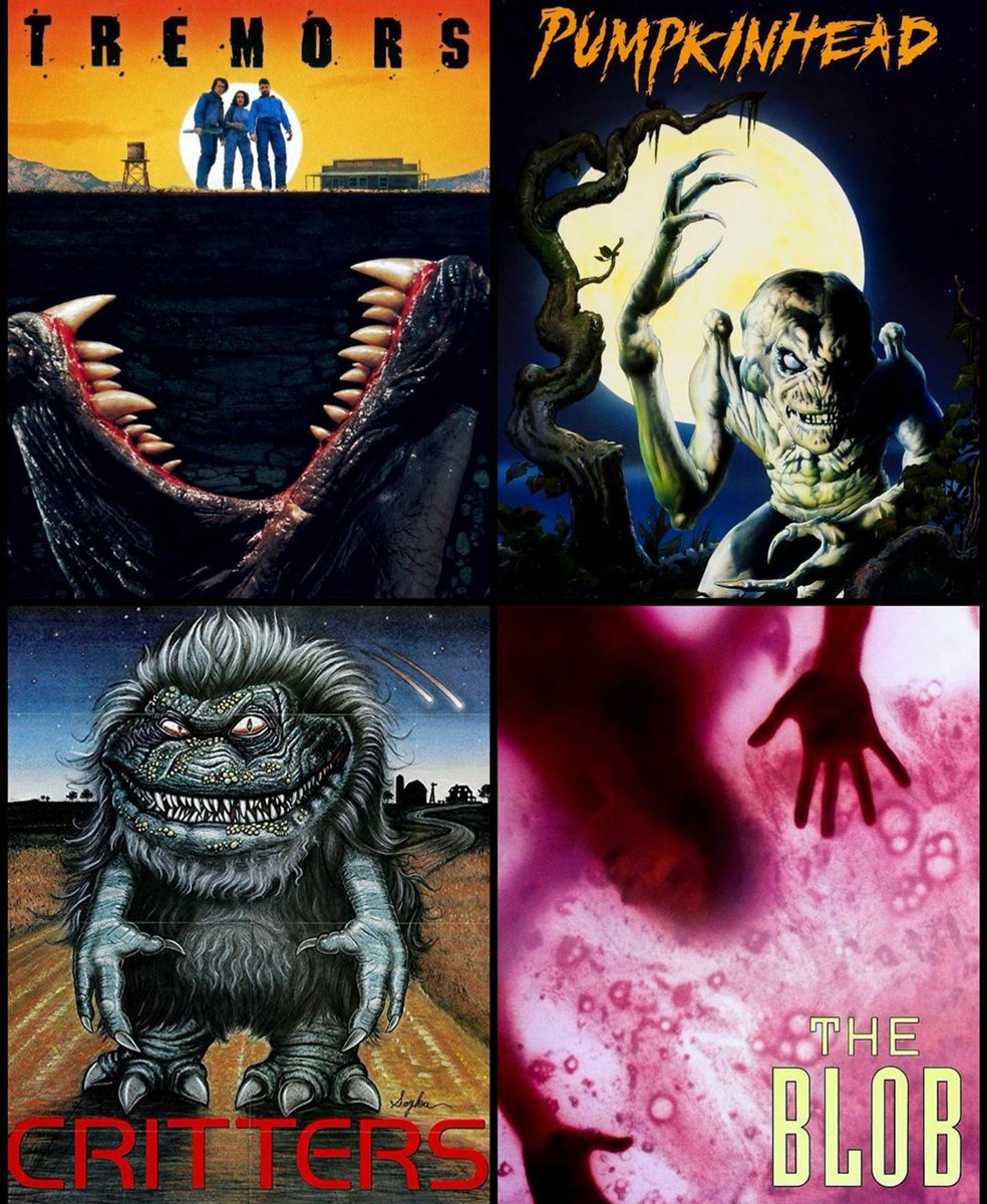 ⚰👽🩸📽 Which film is your favorite from these four? 💀🔪📼🛸 #horror #scifi #sciencefiction
