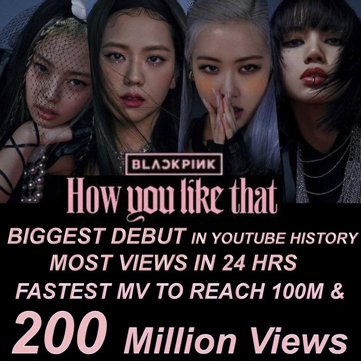 #BLACKPINK's #HowYouLikeThat MV Sets New Record For Fastest Video To Reach 200 Million Views In YouTube History!👊💃💃💃💃🥇🎥💥2️⃣0️⃣0️⃣Ⓜ️🌎🔥🌟👑💐🍾 @BLACKPINK @ygofficialblink  #JENNIE #JISOO #LISA #ROSÉ #HowYouLikeThatMV #200MILLION #YOUTUBE #YG