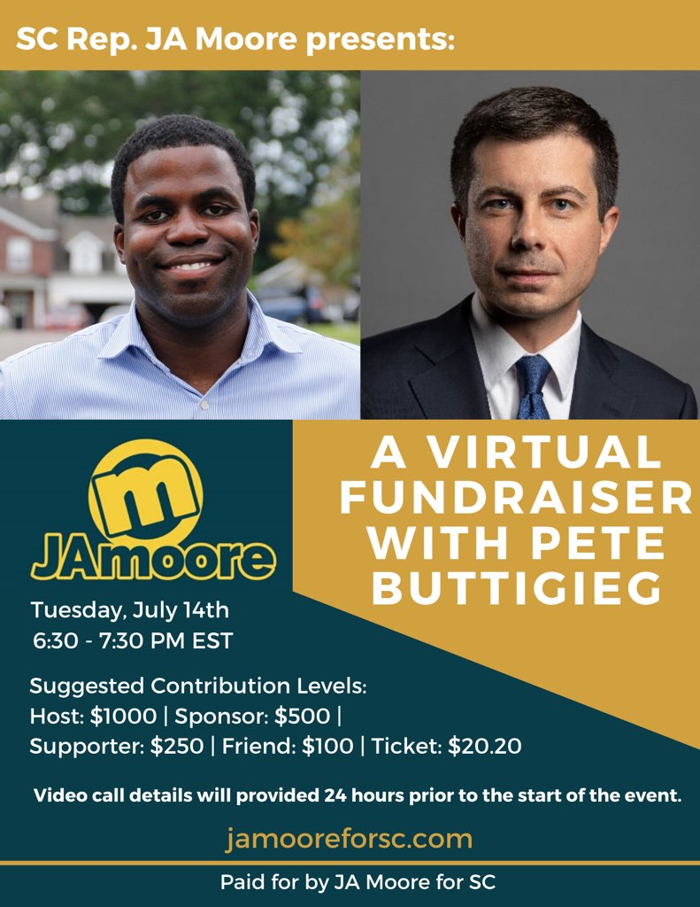 Come join me, @jamooreforsc15, & @PeteButtigieg for a virtual fundraiser we will be hosting on Tuesday, July 14th! 🙏🏾 #TurnSCBlue