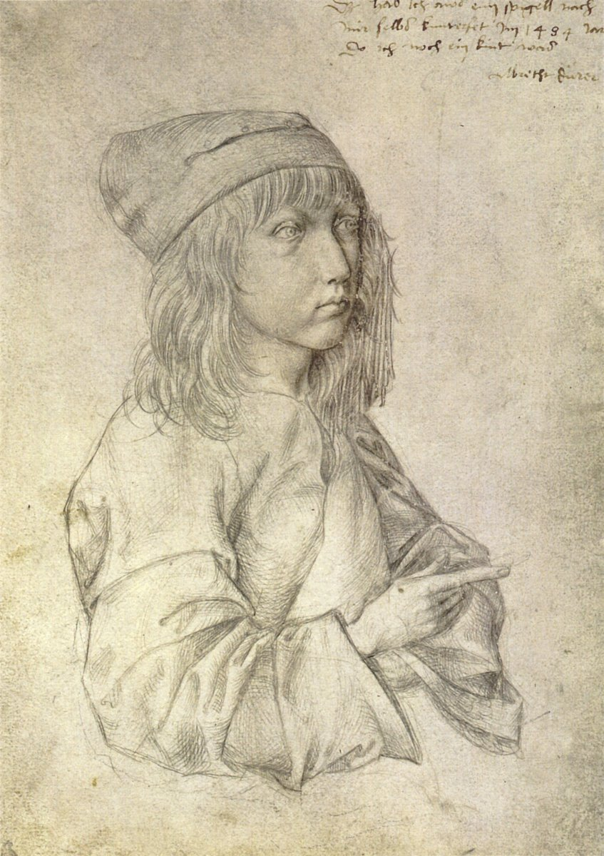 Self-Portrait at Age 13 Albrecht #Durer Silverpoint drawing on prepared paper