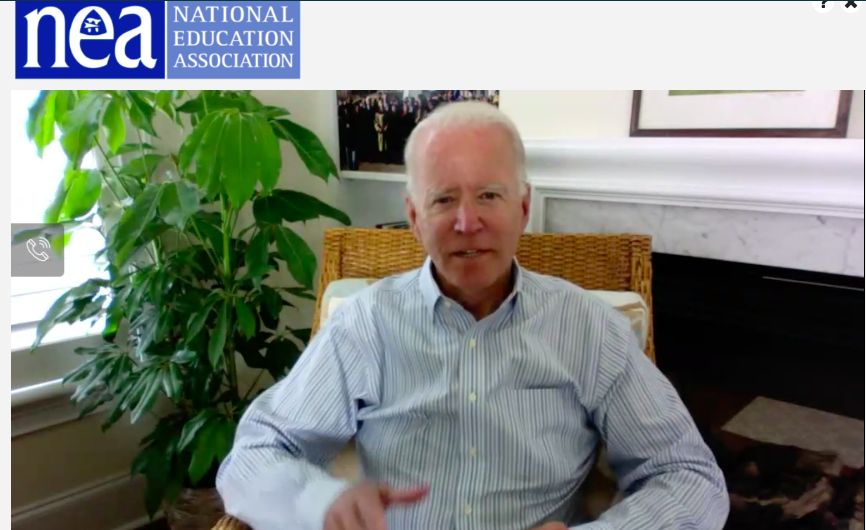 """""""This is going to be a teacher-oriented Department of Education, and it's not going to come from the top down, it's going to come from teachers up,"""" @JoeBiden tells #NEARA2020."""