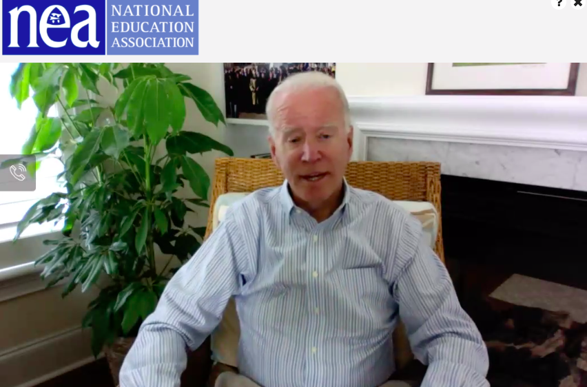 """Even when people ask me about the weather, I reply """"we need a new president!"""" We need someone who believes in public education, who respects educators. We need a President who will fire #BetsyDeVos his first day in office. Welcome @JoeBiden to the #NEARA2020! #EducatorsForJoe"""