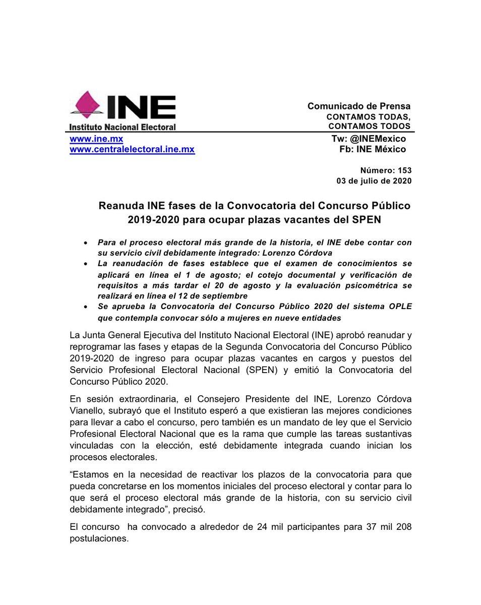 📄 Reanuda @INEMexico fases de la Convocatoria del Concurso Público 2019-2020 para ocupar plazas vacantes del #SPEN.  #30AñosINE