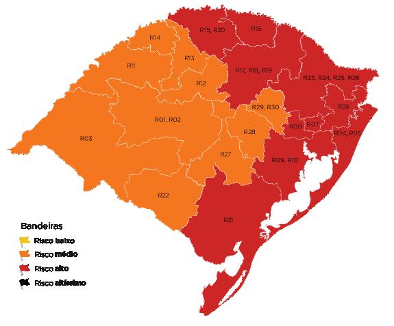 Divulgamos há pouco o mapa preliminar da 9ª rodada do Distanciamento Controlado, que mostra que mais quatro regiões estão com risco alto, totalizando 10 com bandeira vermelha. Embora seja metade das 20 regiões usadas no modelo, elas representam 73,4% da população gaúcha.