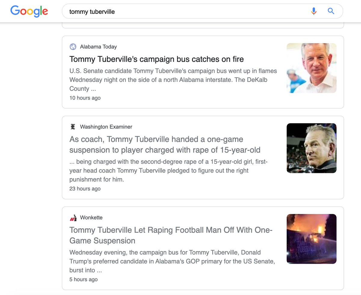 No wonder @TTuberville wants to hide out. Tommy, I'm sorry your campaign bus caught on fire. But refusing to answer questions about the sexual assault of a 15-year-old girl? As the father of two daughters, I can't respect a man who won't stand up and address this issue himself.