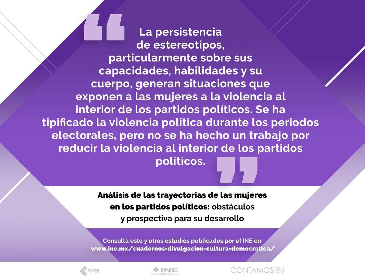 """➡️ Acércate a las conclusiones del estudio """"Análisis de las trayectorias de las mujeres en los #PartidosPolíticos: obstáculos y prospectiva para su desarrollo"""", editado por el @INEMexico y el @ISBeauvoir. #30AñosINE"""