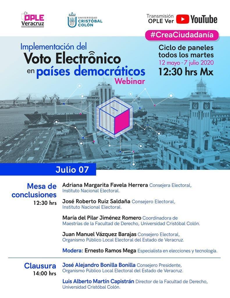 Va invitación para seguir y participar en este evento sobre #VotoElectrónico organizado por el @ople_Ver y la @ucristobalcolon. Expondré la experiencia en el proyecto vinculante que realiza el @INEMexico, con el @IEEHidalgo, el @IECoahuila y el @iepcjalisco.