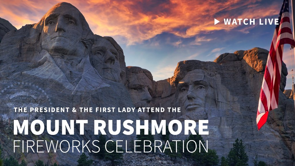 TONIGHT—President @realDonaldTrump and @FLOTUS visit Mount Rushmore and attend the fireworks celebration!  Watch LIVE at 10:10 p.m. ET: