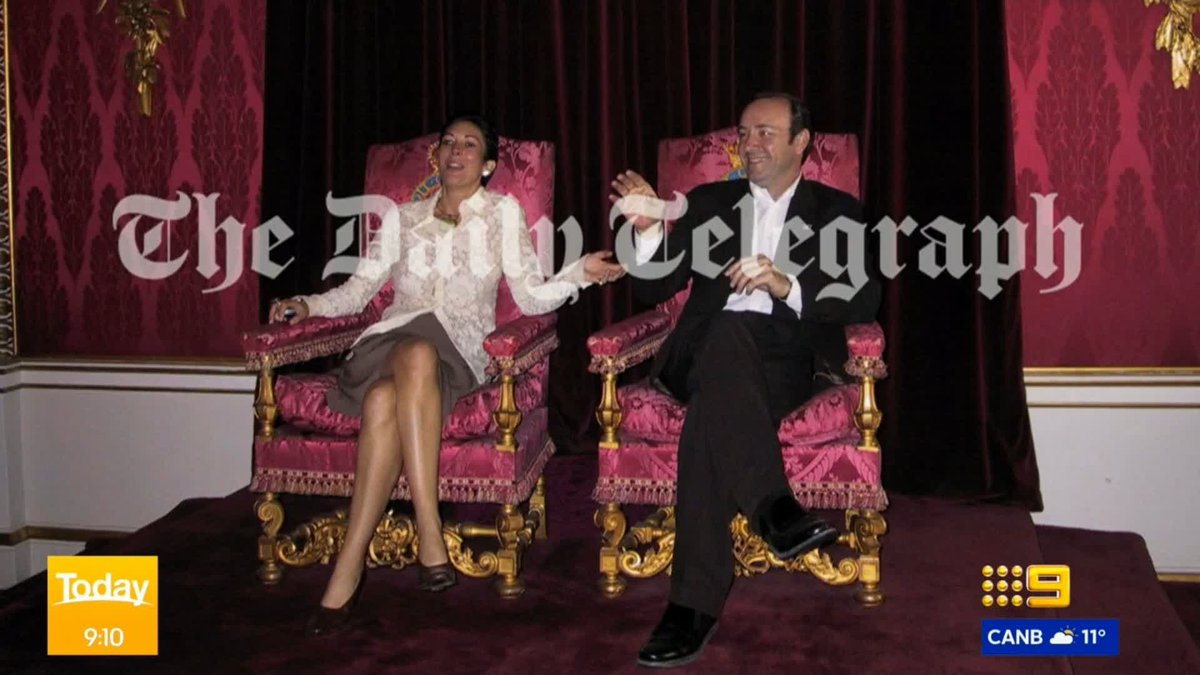 Waterfall of proofs. D5 Avalanche may be in the forecast.   Aphotograph has just emerged of accused sex abuser Ghislaine Maxwell sitting on a throne at Buckingham Palace with actor, Kevin Spacey.